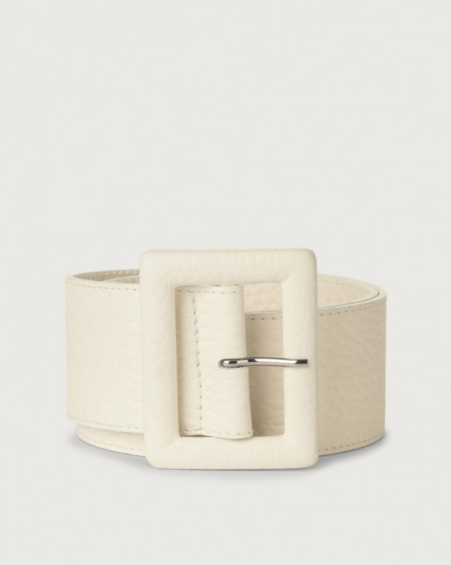 Orciani Soft high waist leather belt with covered buckle Leather White
