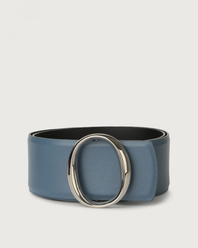 Orciani Liberty high-waist leather belt with monogram buckle Leather Denim