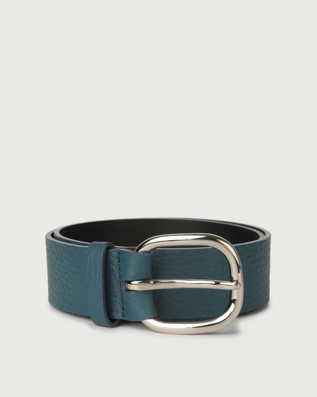 Orciani Soft leather belt with metal eyelets Leather Blue