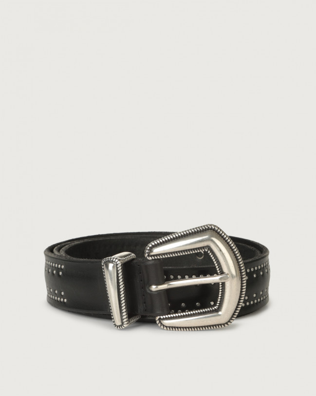 Orciani Bull Soft western details leather belt Leather Black