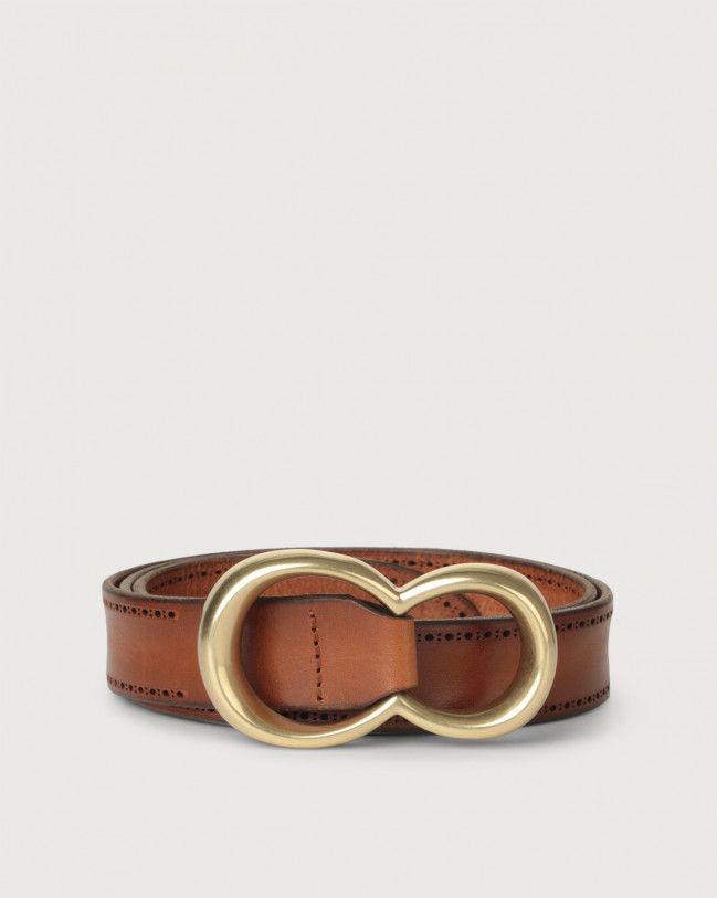 Orciani Bull Soft leather belt with brass buckle Leather Cognac