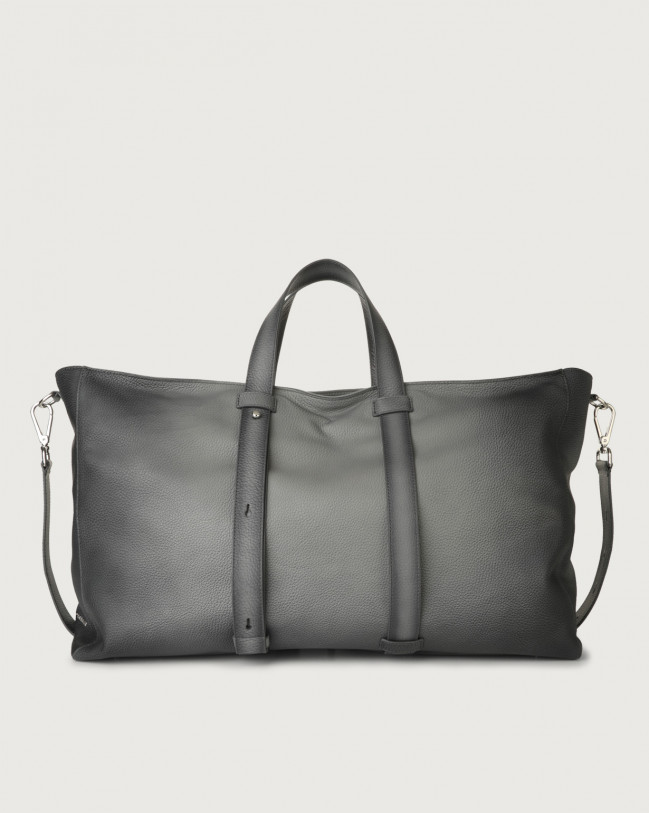 Orciani Micron Deep large leather weekender bag Leather Grey