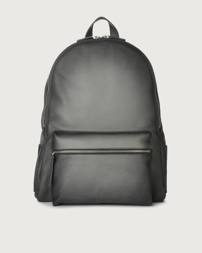 Orciani Micron Deep leather backpack Leather Grey