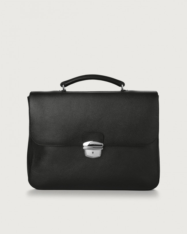 Orciani Micron leather work bag Leather Black