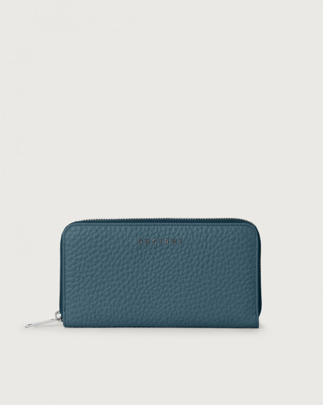 Orciani Soft large leather wallet with zip and RFID Leather Blue