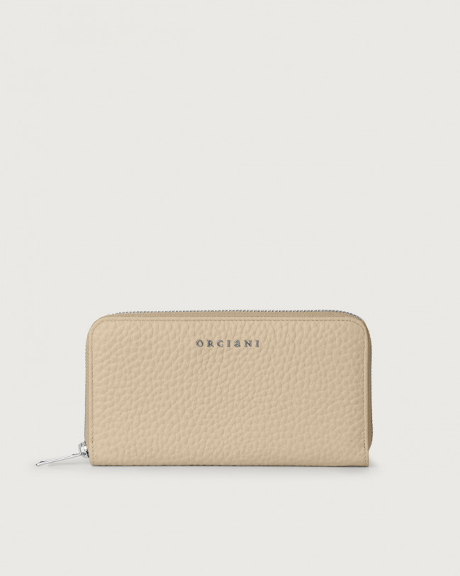 Orciani Soft large leather wallet with zip and RFID Leather Sand