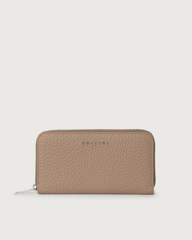 Orciani Soft large leather wallet with zip and RFID Leather Taupe