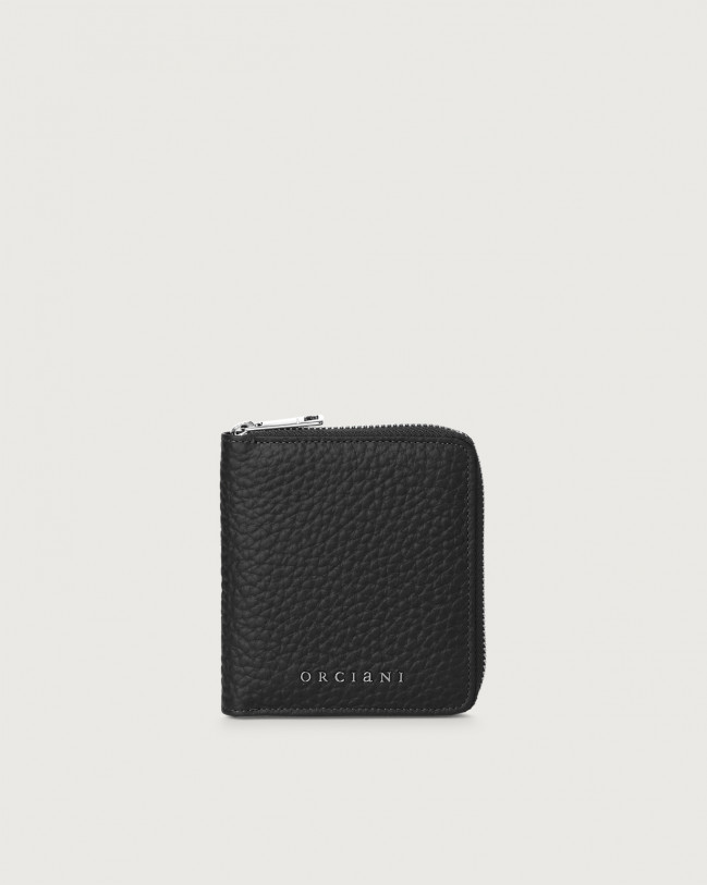 Orciani Soft small leather wallet with zip with RFID Leather Black