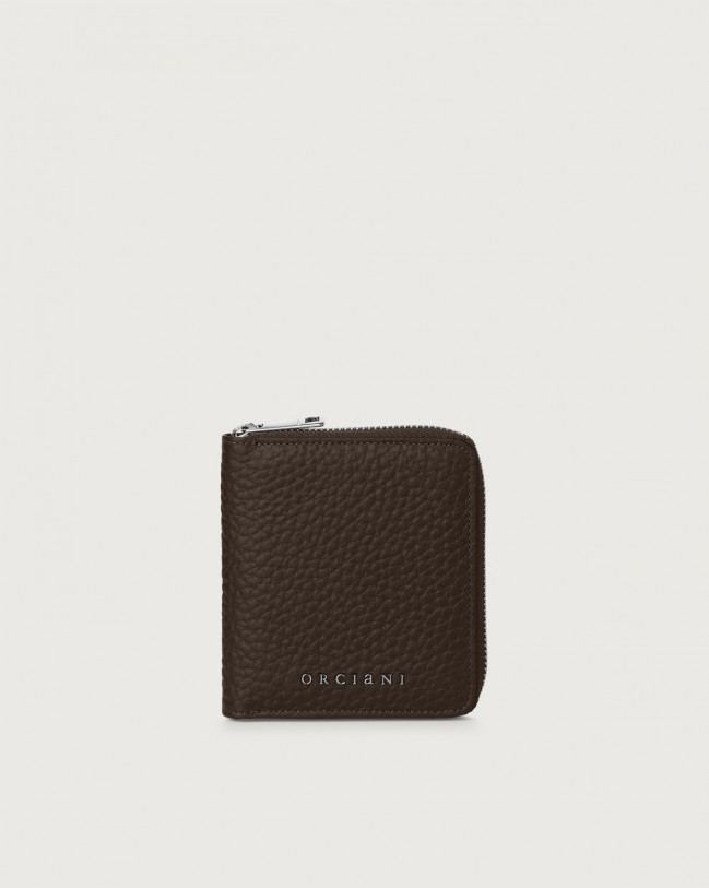 Orciani Soft small leather wallet with zip with RFID Leather Chocolate