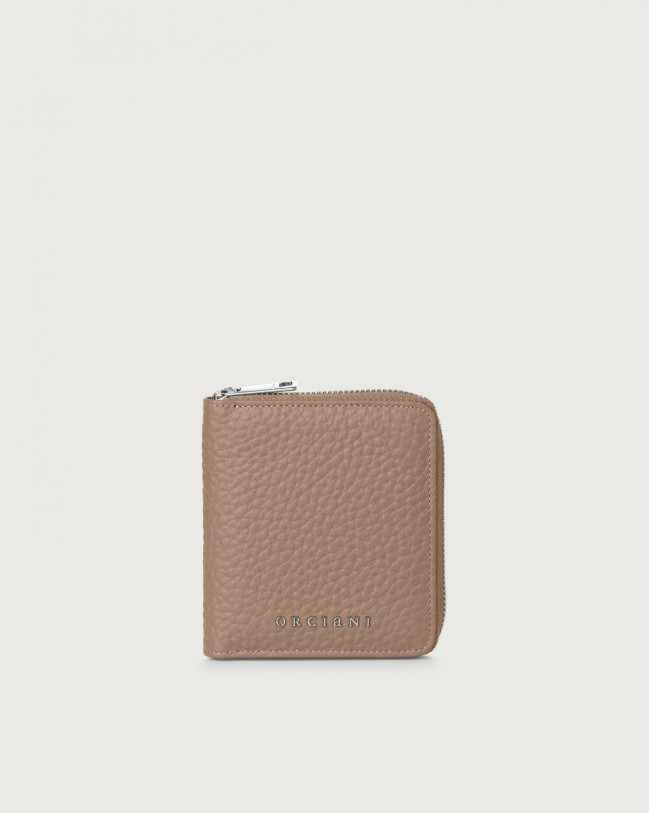 Orciani Soft small leather wallet with zip with RFID Leather Taupe