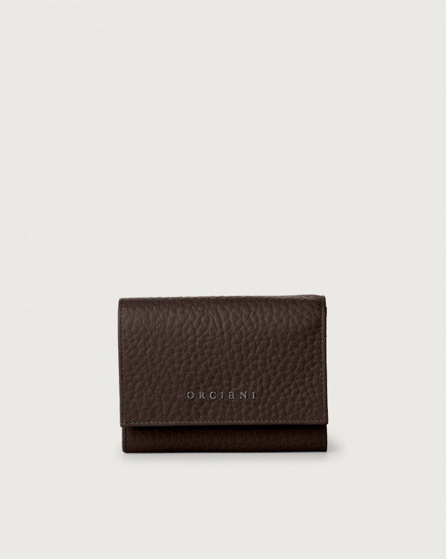 Orciani Soft small leather envelope wallet with RFID Leather Chocolate