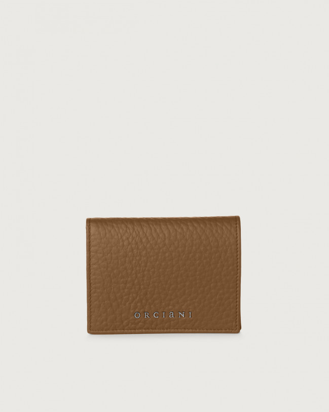 Orciani Soft small leather wallet with RFID Leather Caramel
