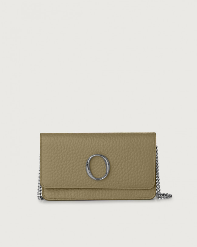 Orciani Soft leather pochette with RFID Leather Kaki