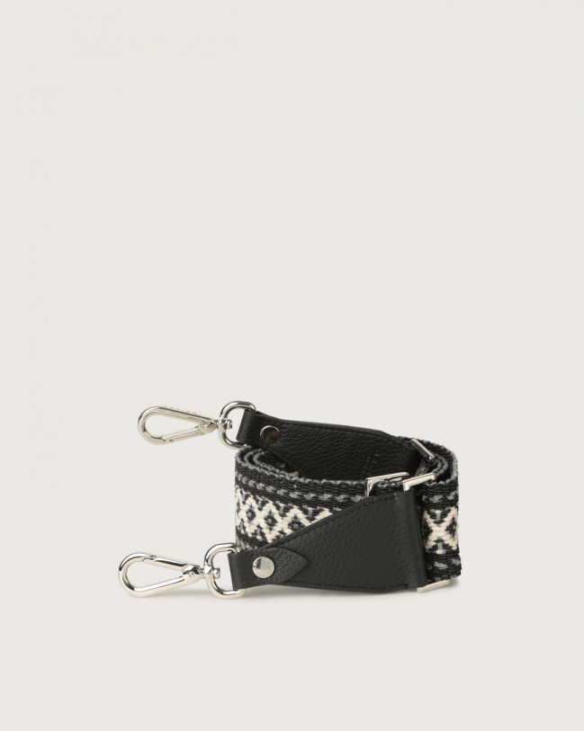 Orciani Warm fabric and leather strap Leather & fabric Black+Grey
