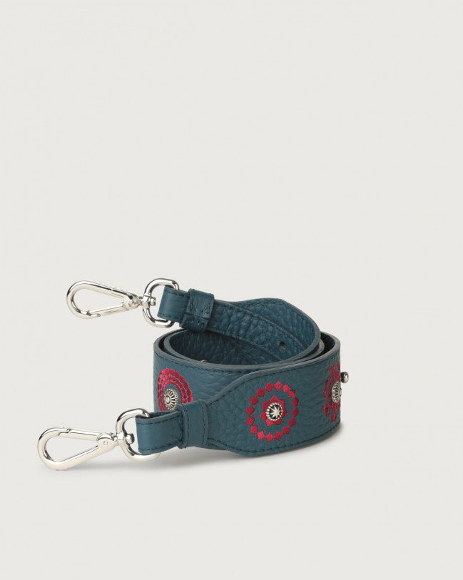 Orciani Soft embroidered leather strap Leather Blue