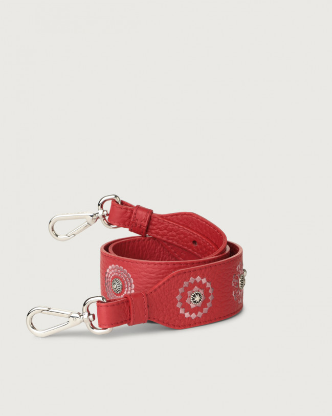 Orciani Soft embroidered leather strap Leather Marlboro red