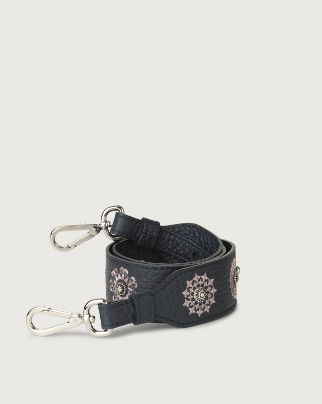 Orciani Soft embroidered leather strap Leather Navy