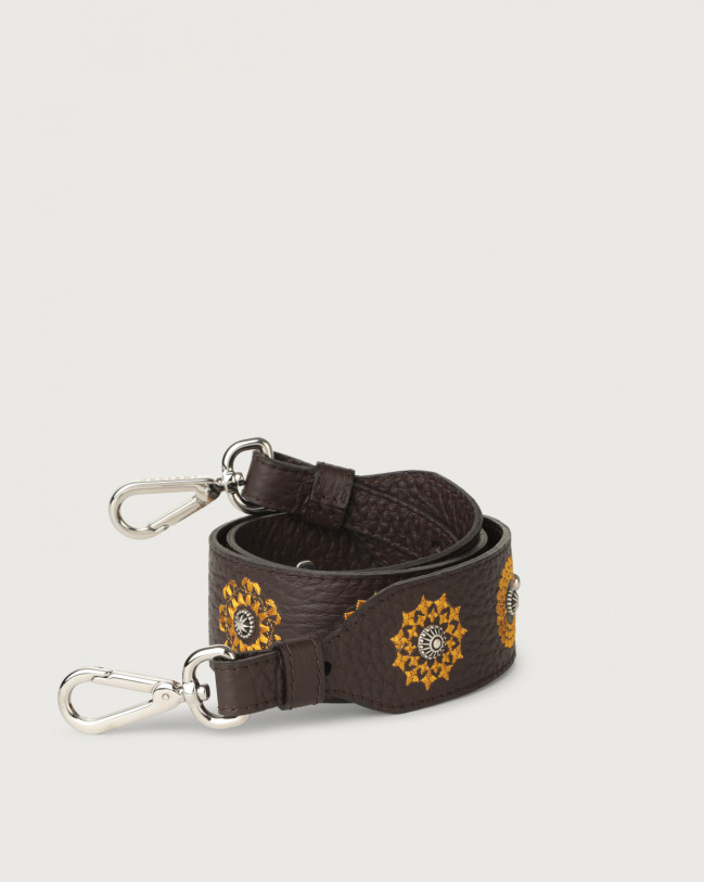Orciani Soft embroidered leather strap Leather Chocolate