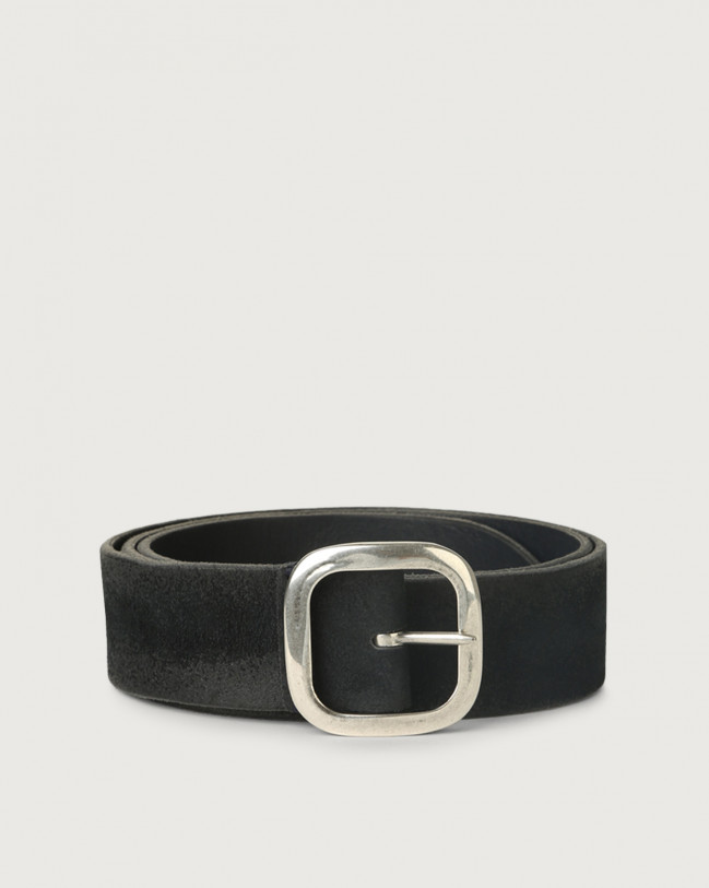 Orciani Hunting Double suede and leather belt 3,5 cm Leather, Suede Black