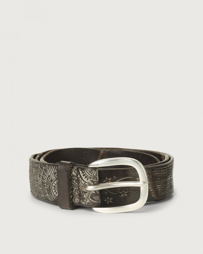 Orciani Patch Pattern Soapy leather belt Leather Unique