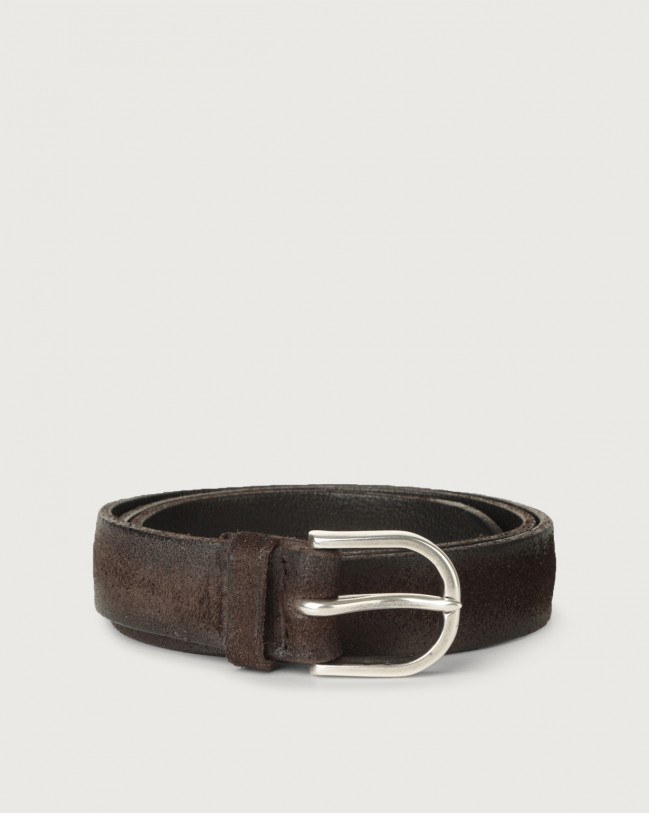 Orciani Hunting brushed suede belt 3 cm Suede Chocolate
