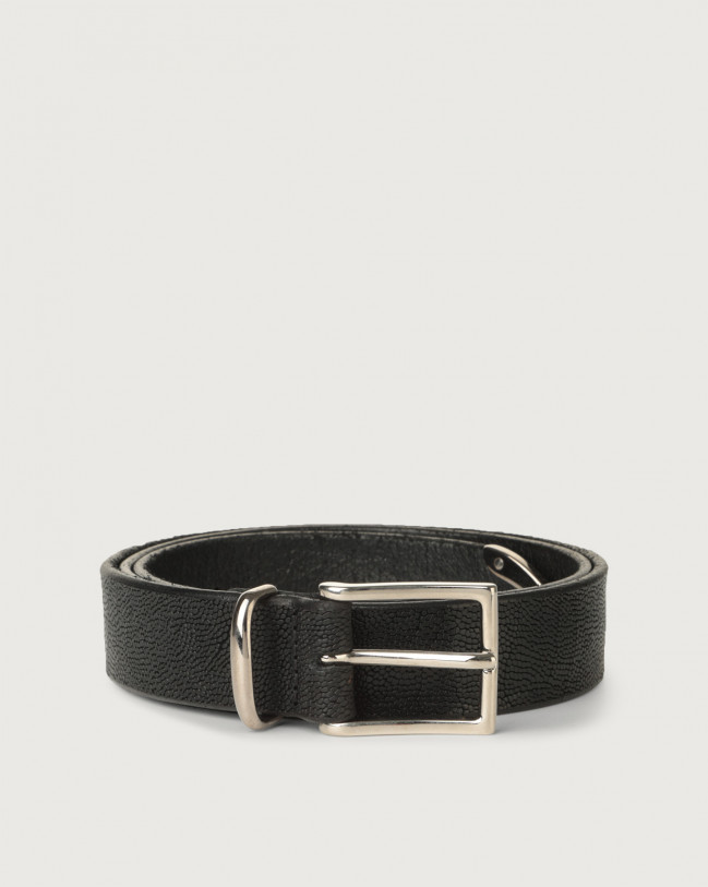 Orciani Frog leather belt 3 cm Embossed leather Black