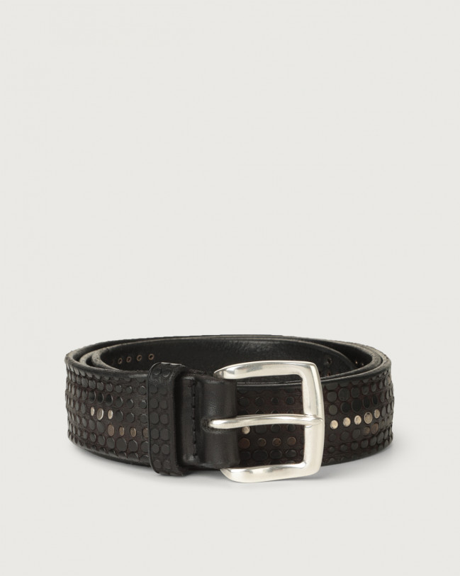 Orciani Bull Soft micro-studs leather belt Leather Black