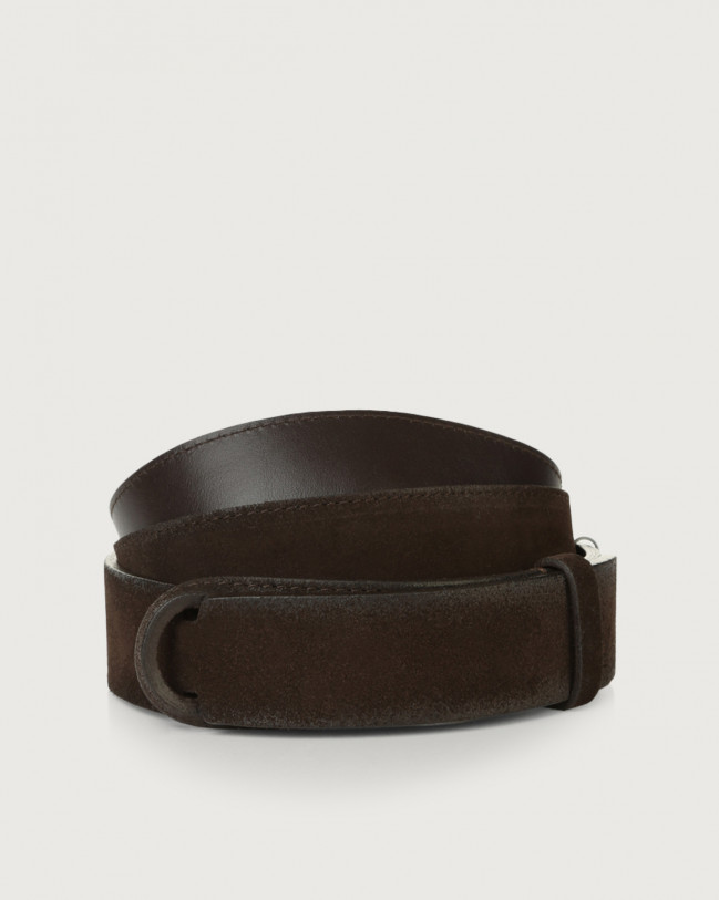 Orciani Cloudy suede and leather Nobuckle belt Suede Chocolate