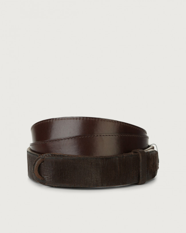 Orciani Cutting leather Nobuckle belt Leather Chocolate
