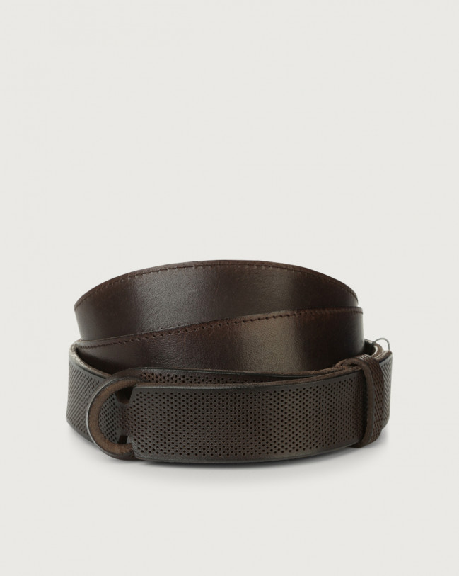 Orciani Dive Holes leather Nobuckle belt Leather Chocolate