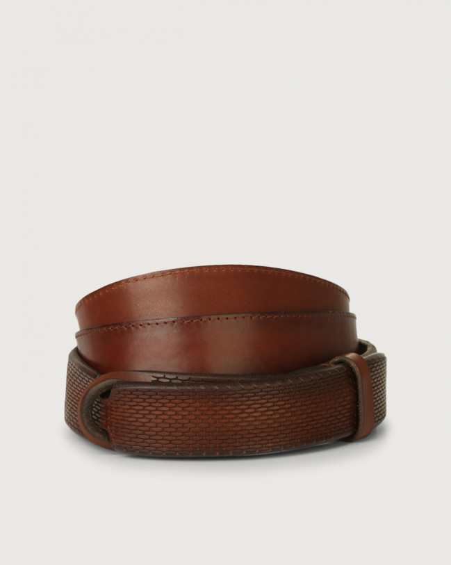 Orciani Bull Soft leather Nobuckle belt Leather Burnt
