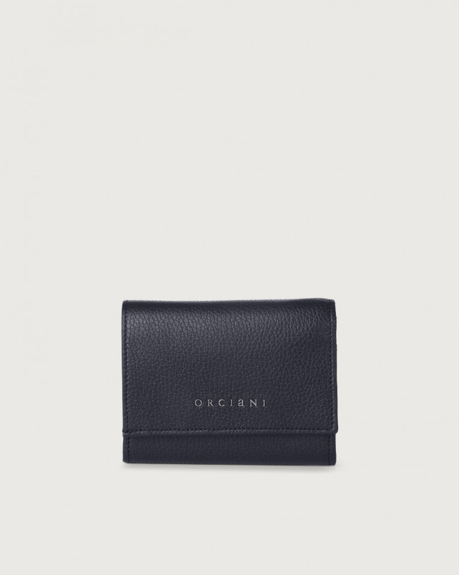 Orciani Micron small leather envelope wallet with RFID Leather Navy