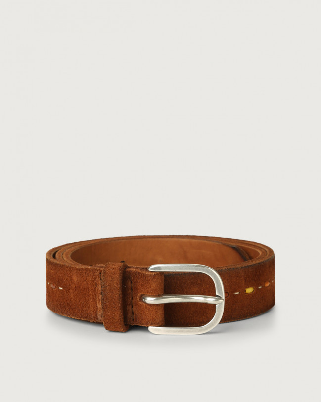 Orciani Hunting micro-studs brushed suede belt Suede Honey