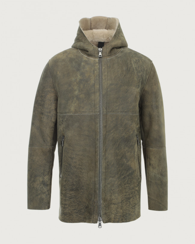 Orciani Aspen shearling jacket with hood Shearling Swamp greeen