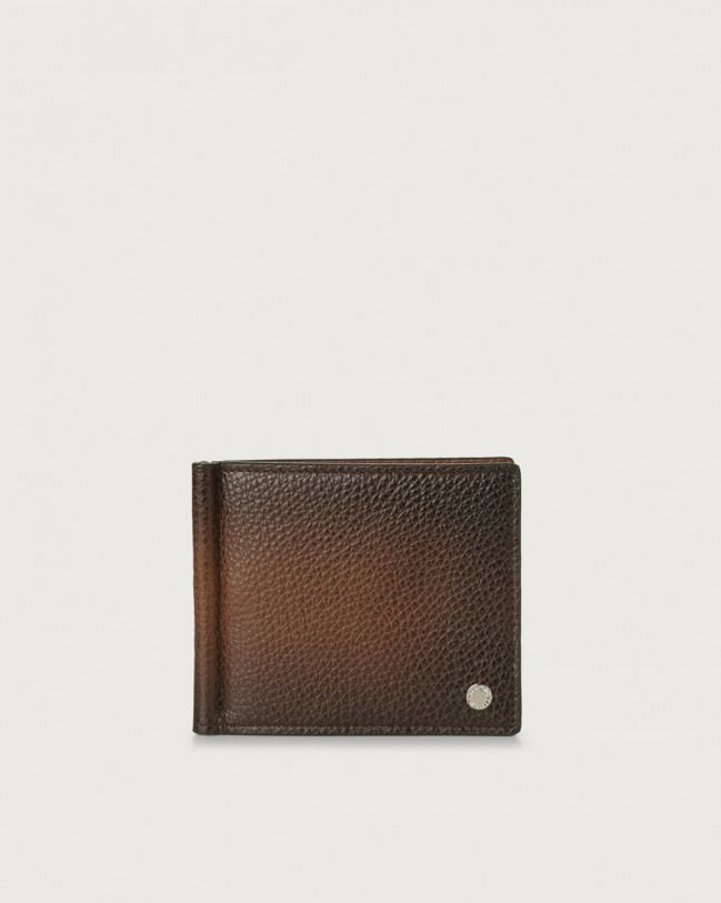 Orciani Micron Deep leather wallet with money clip Burnt