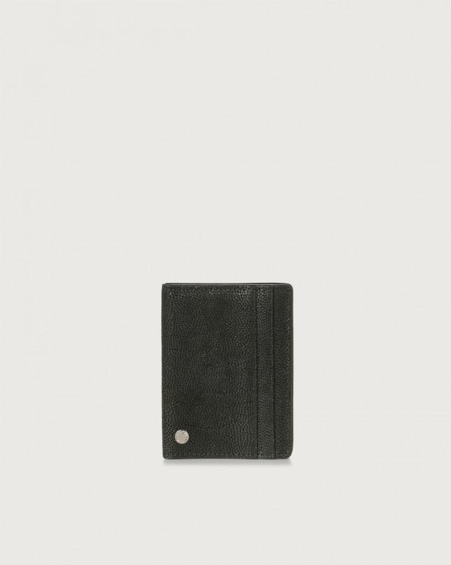 Orciani Frog hinge opening leather card holder Embossed leather Black