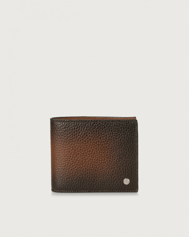 Orciani Micron Deep leather wallet with coin pocket and RFID Leather Brown