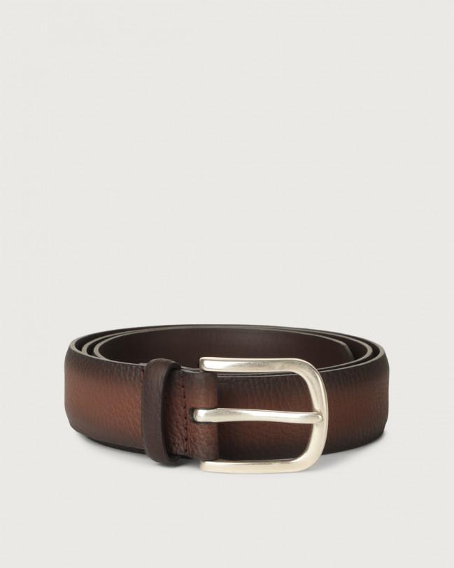 Orciani Micron Deep leather belt Leather Burnt