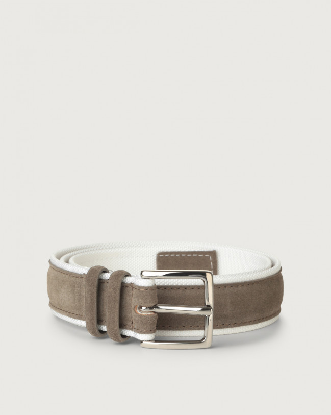 Orciani Amalfi Active suede and fabric belt Canvas, Suede Mud+White
