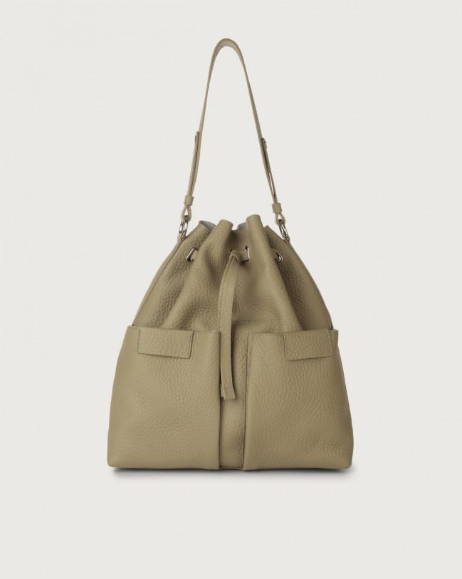 Orciani Tessa Soft large leather bucket bag Leather Kaki