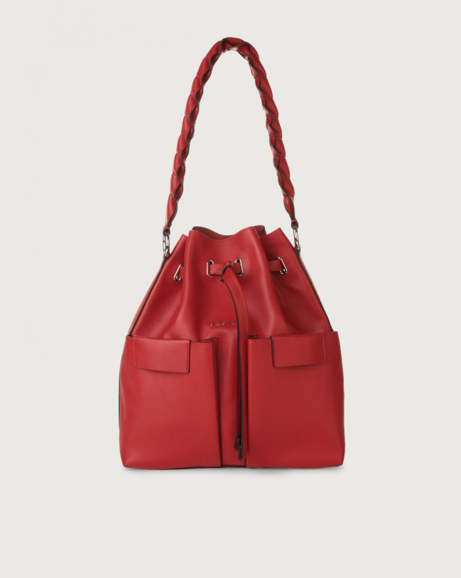 Orciani Tessa Liberty medium leather bucket bag Leather Red