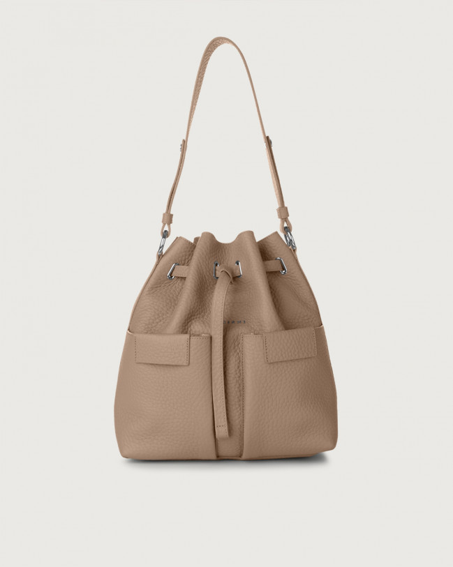 Orciani Tessa Soft medium leather bucket bag Leather Taupe