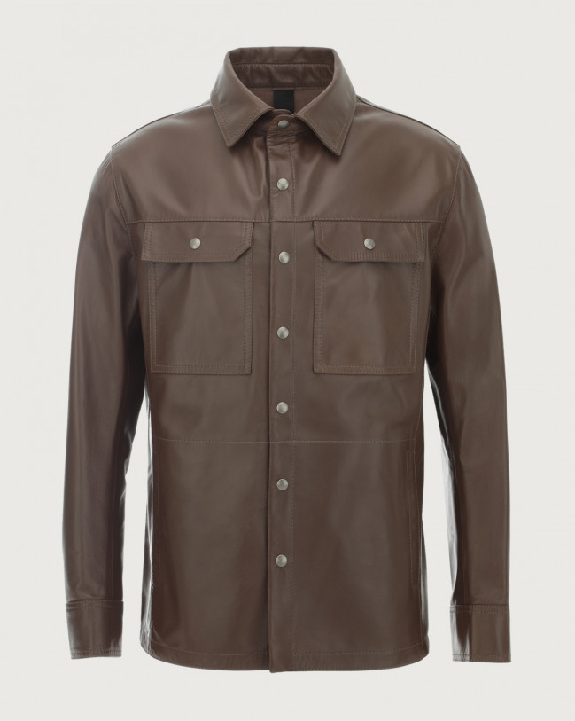 Orciani Nappa Nature leather shirt jacket Leather Military green