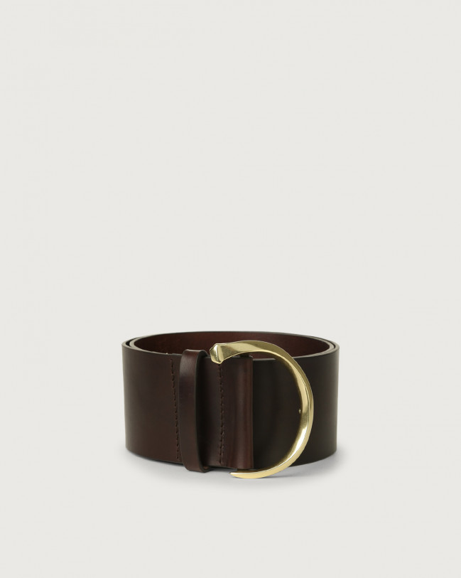 Orciani Bull high waist leather belt with brass buckle Leather Chocolate