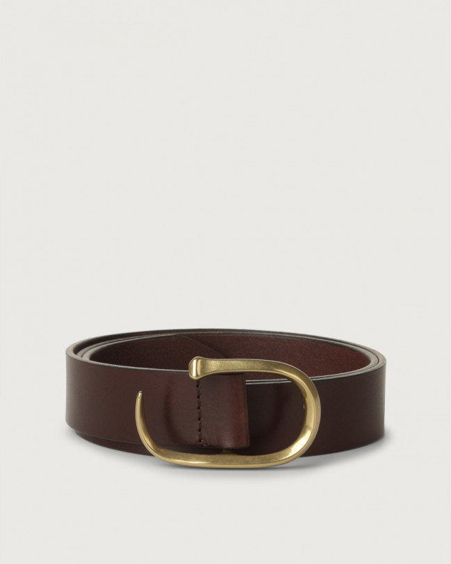 Orciani Bull brass buckle leather belt Leather Chocolate