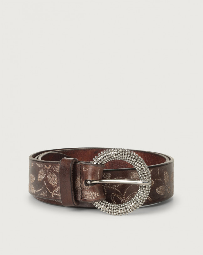 Orciani Stain Soapy leather belt with chain buckle Leather Chocolate