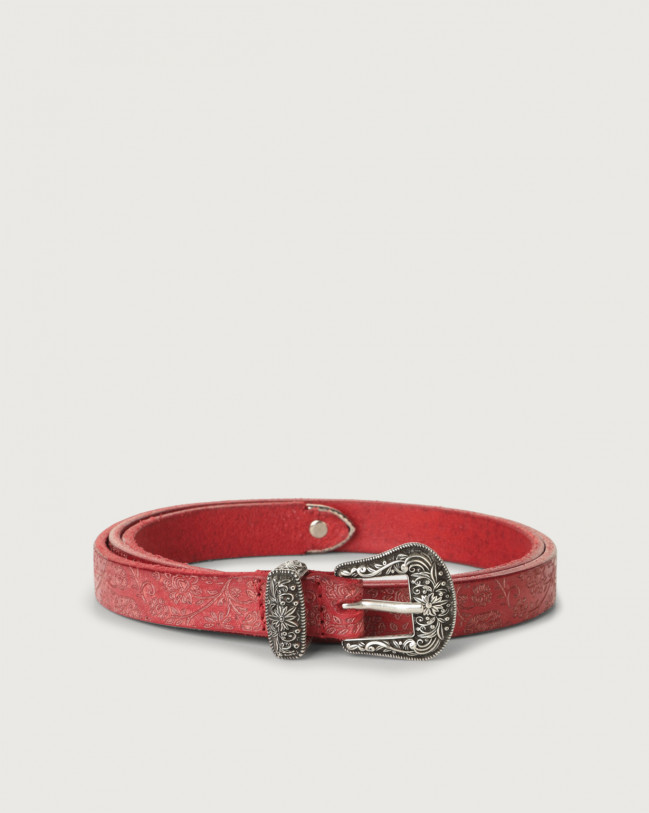 Orciani Stain Soapy leather belt western details Leather Red