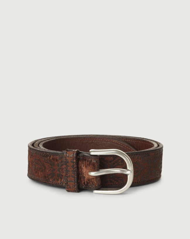 Orciani Cutting laser-cut leather belt Leather Chocolate