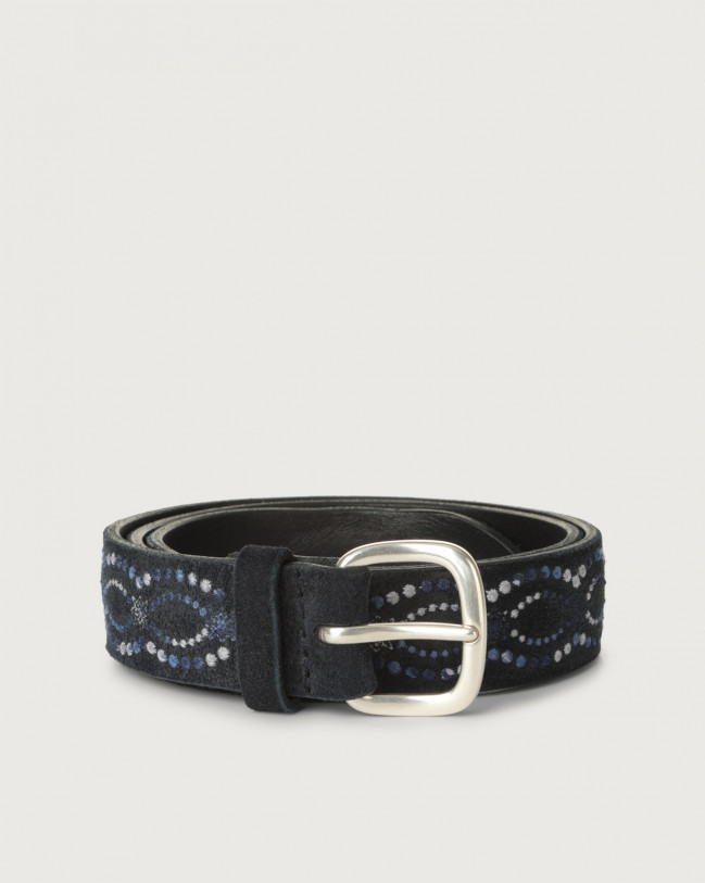 Orciani Cloudy Frame suede belt Suede Deep blue