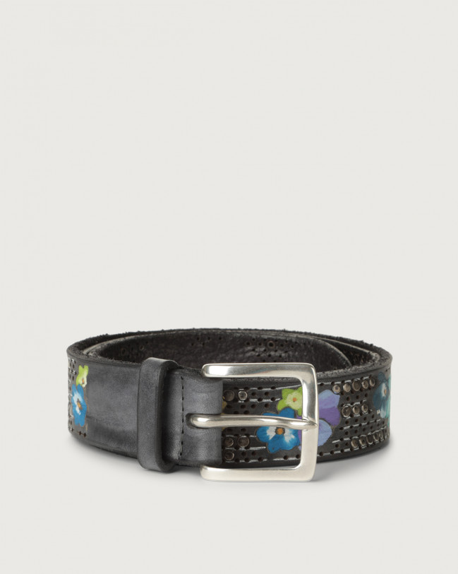 Orciani Asian hand-painted leather belt Leather Grey